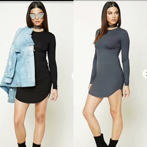 2 Long Sleeve Mini Bodycon Dresses